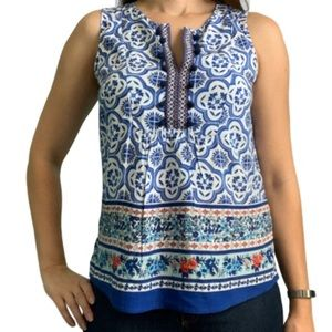 Daniel Rainn sleeveless floral boho blouse size S